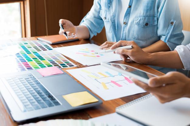 creative team designer choosing samples 1423 3415
